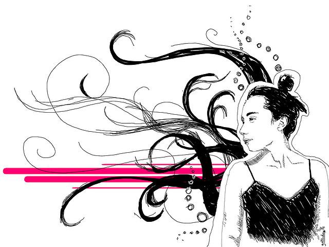 Eine Frau denkt nach, ihre Gedanken fliegen